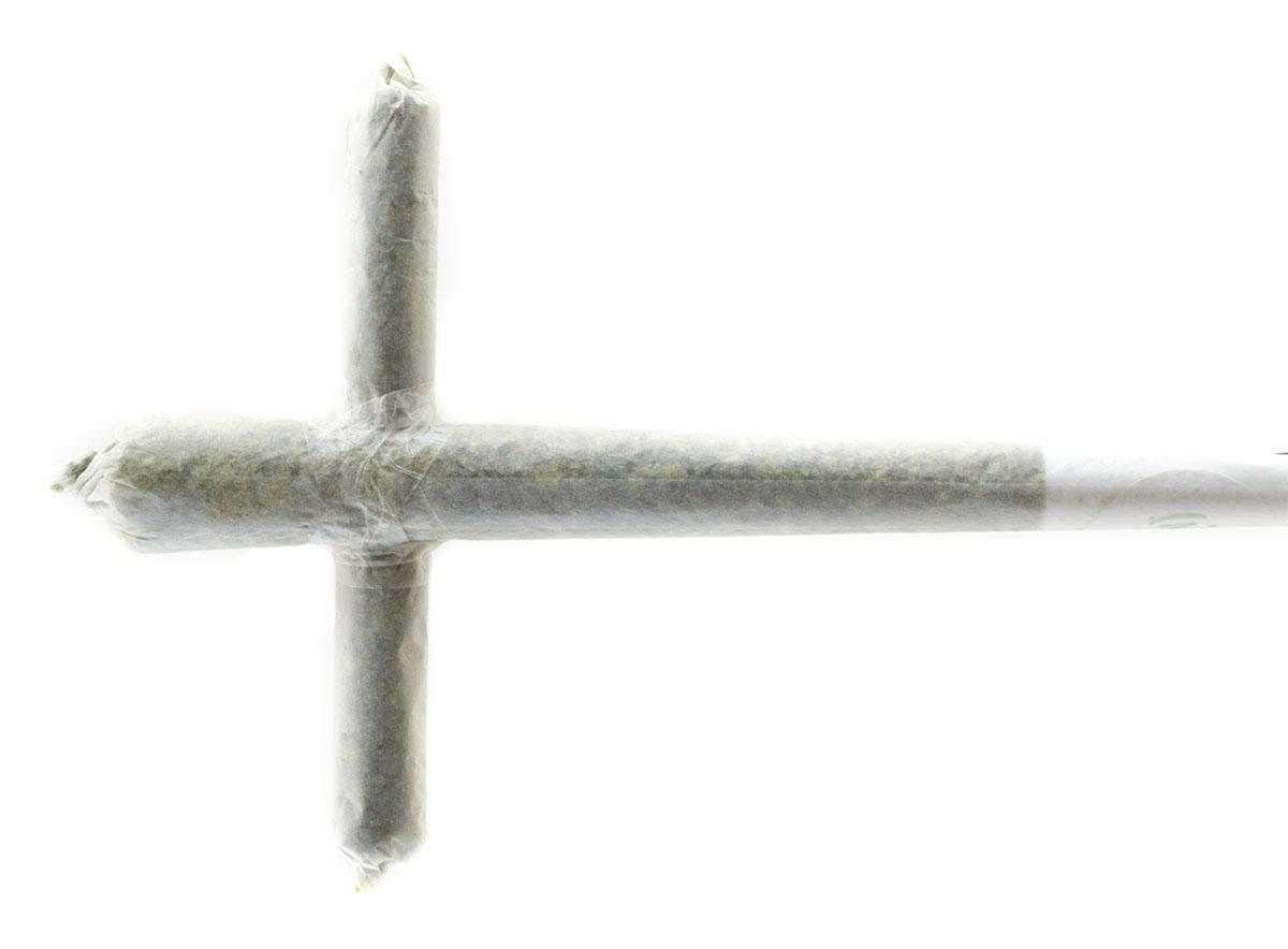 Cross shaped marijuana joint